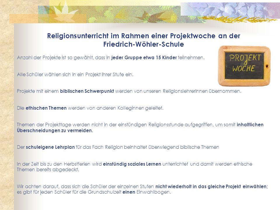 Religionsunterricht im Rahmen einer Projektwoche an der