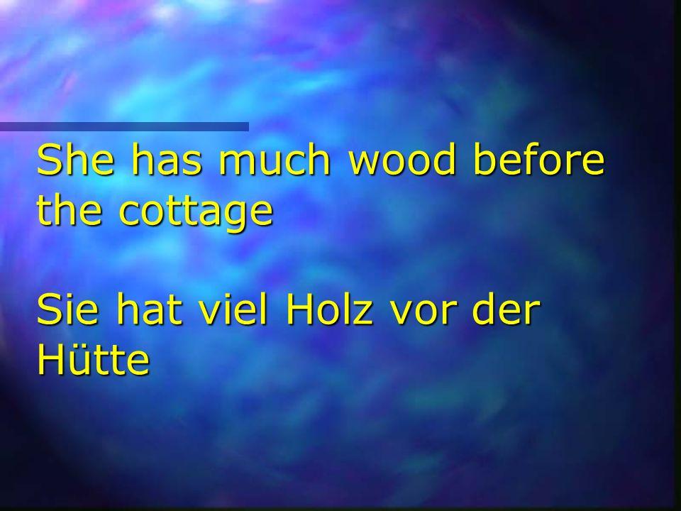 She has much wood before the cottage Sie hat viel Holz vor der Hütte