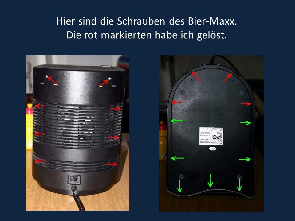 Hier sind die Schrauben des Bier-Maxx