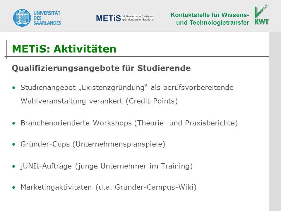 METiS: Aktivitäten Qualifizierungsangebote für Studierende