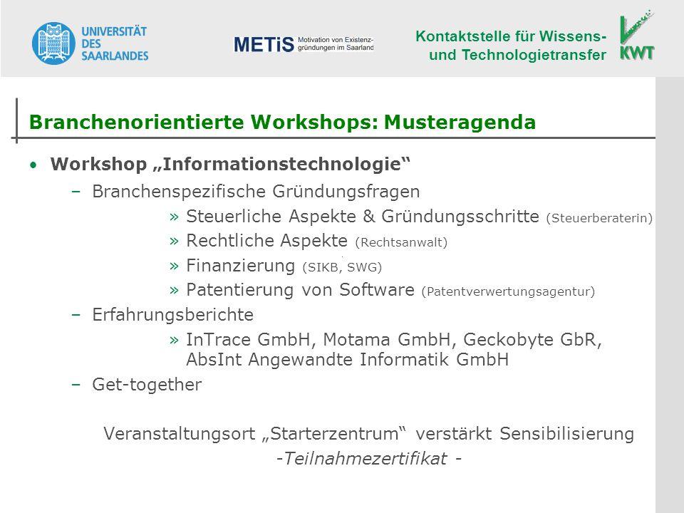 Branchenorientierte Workshops: Musteragenda