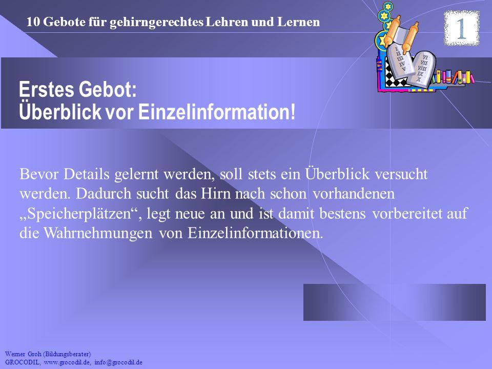 Erstes Gebot: Überblick vor Einzelinformation!