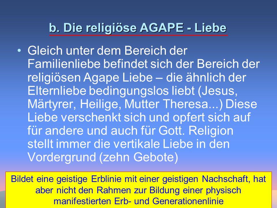b. Die religiöse AGAPE - Liebe