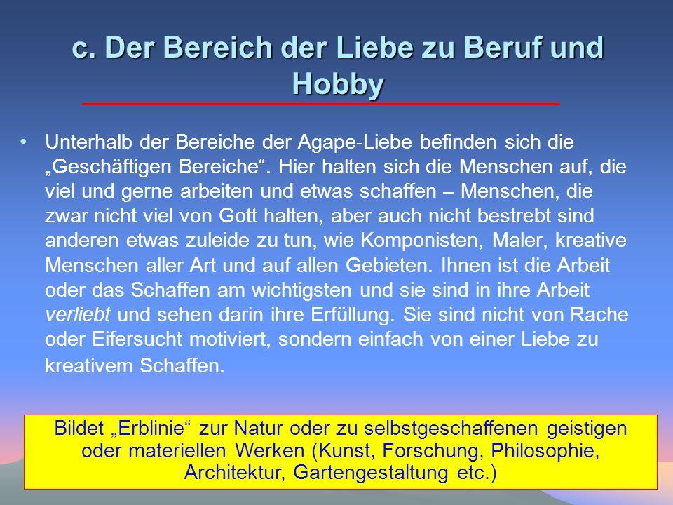 c. Der Bereich der Liebe zu Beruf und Hobby