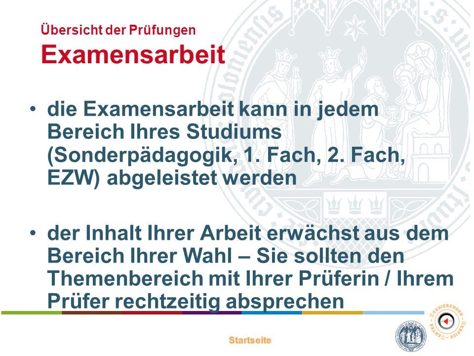Übersicht der Prüfungen Examensarbeit