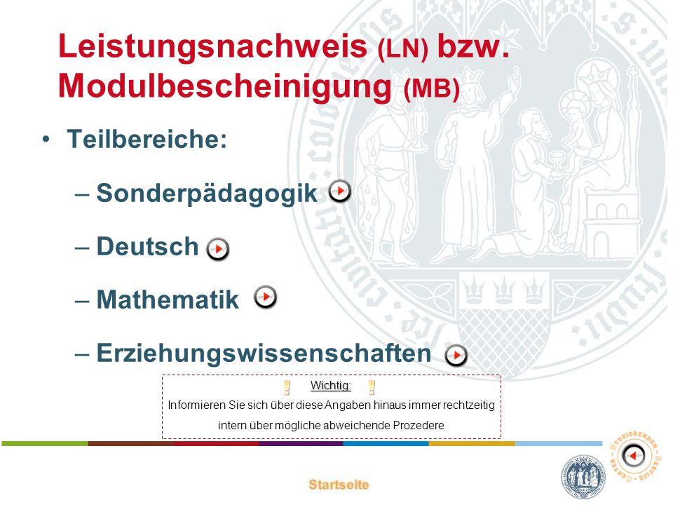 Leistungsnachweis (LN) bzw. Modulbescheinigung (MB)