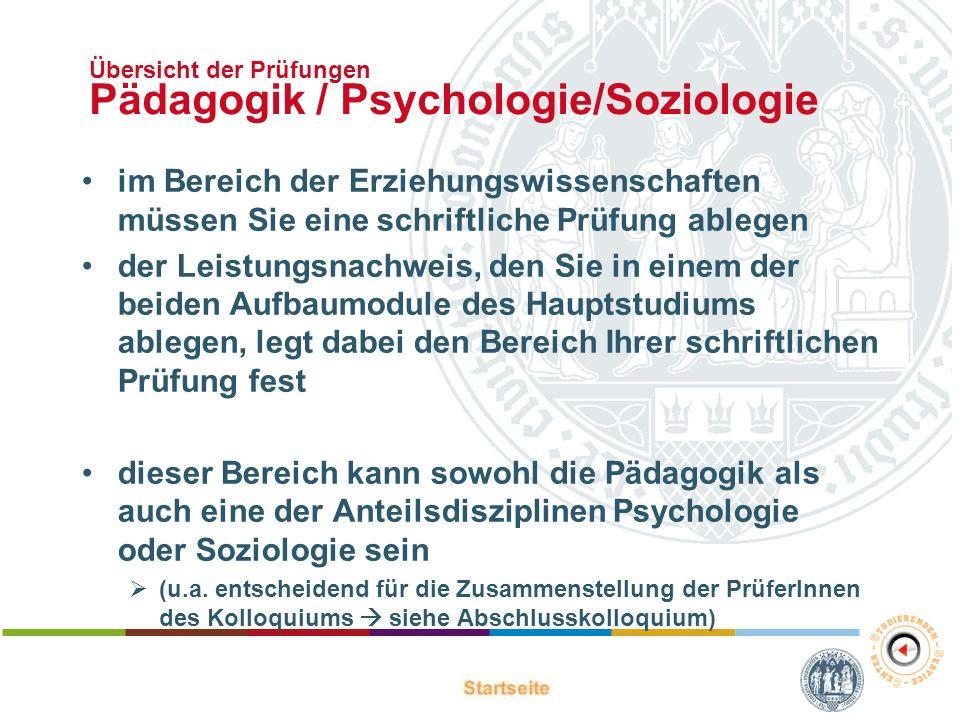 Übersicht der Prüfungen Pädagogik / Psychologie/Soziologie