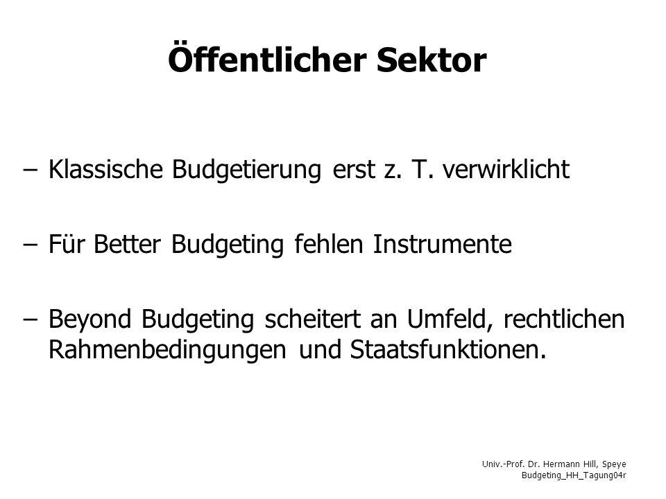 Öffentlicher Sektor Klassische Budgetierung erst z. T. verwirklicht