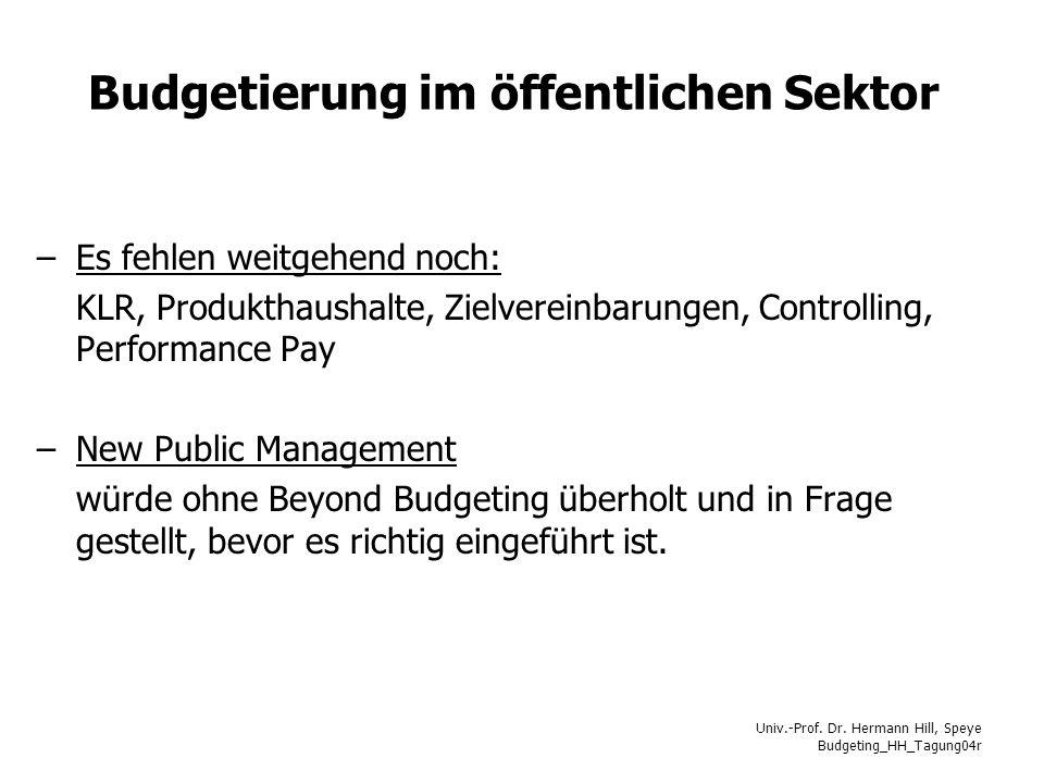 Budgetierung im öffentlichen Sektor
