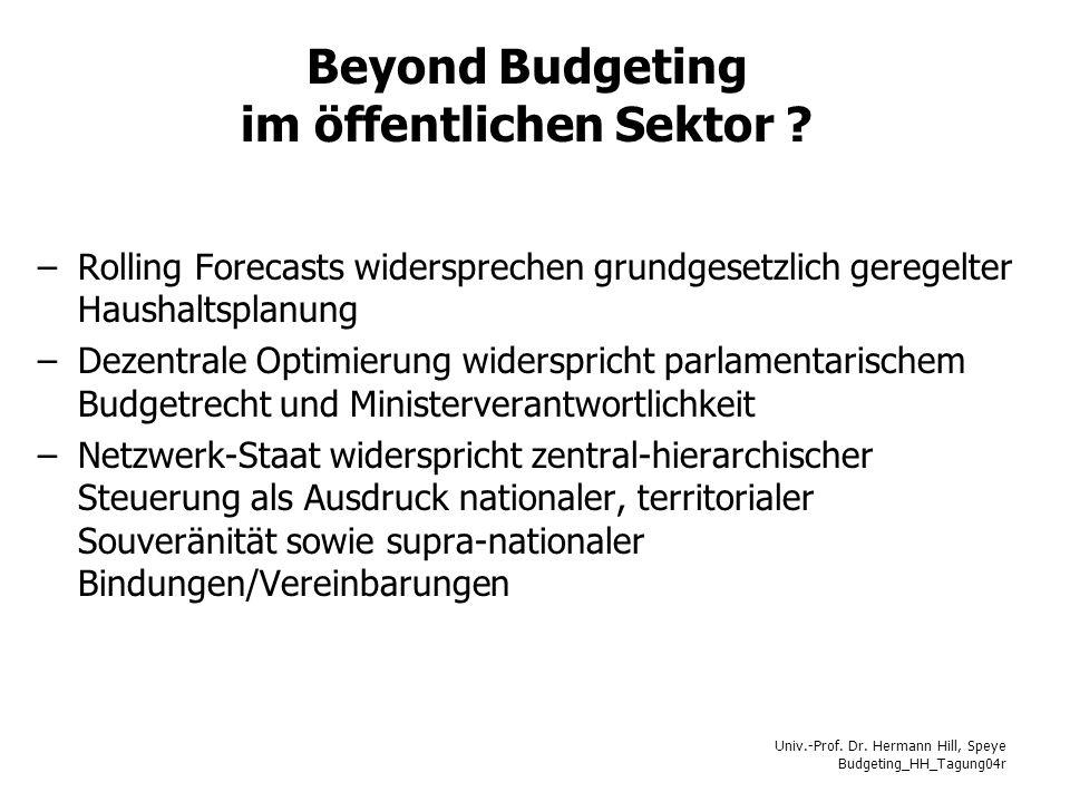 Beyond Budgeting im öffentlichen Sektor