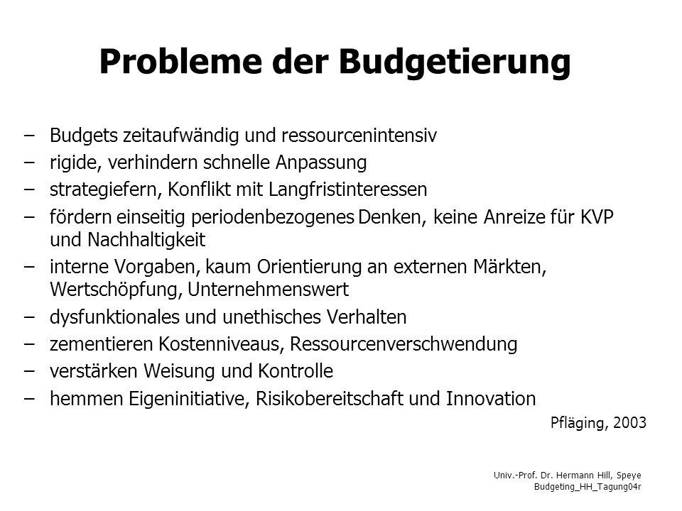 Probleme der Budgetierung