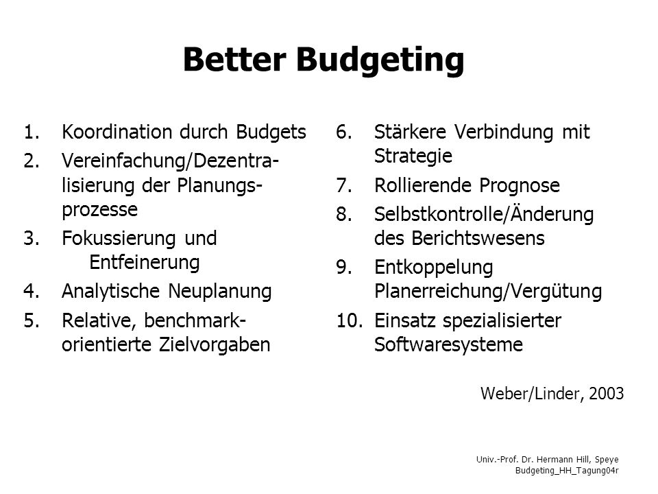 Better Budgeting Koordination durch Budgets