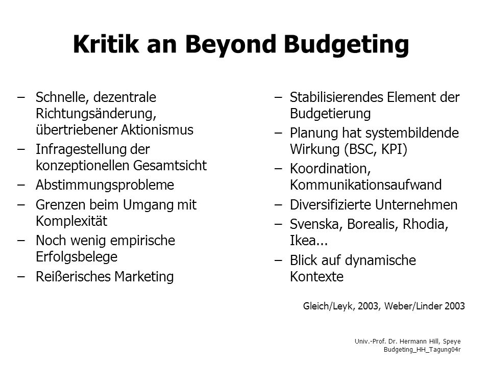 Kritik an Beyond Budgeting