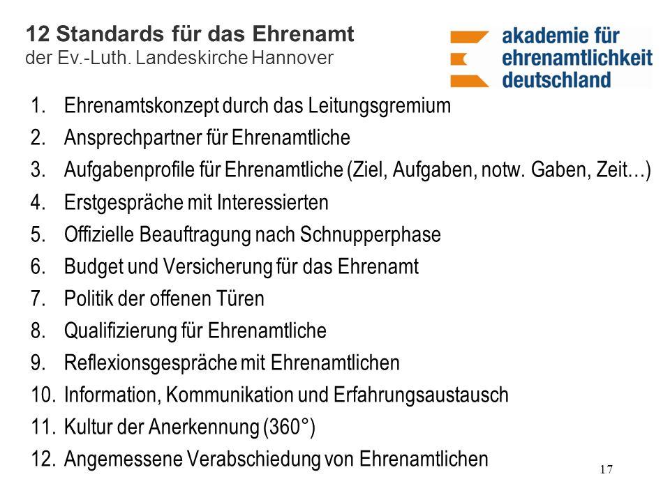 12 Standards für das Ehrenamt
