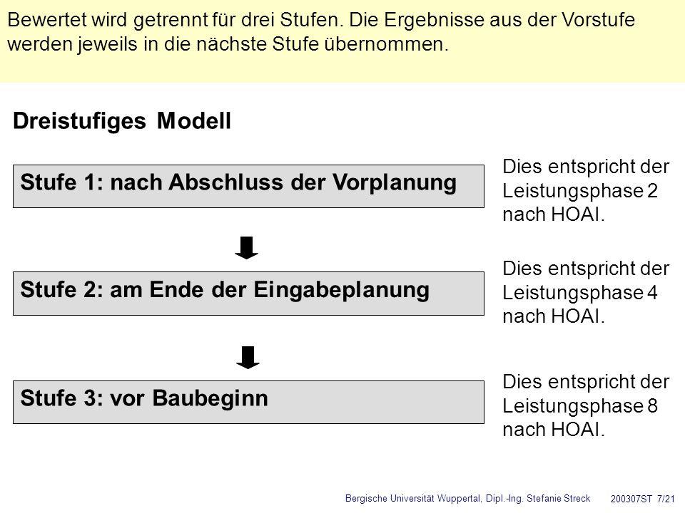 Dreistufiges Modell Stufe 1: nach Abschluss der Vorplanung