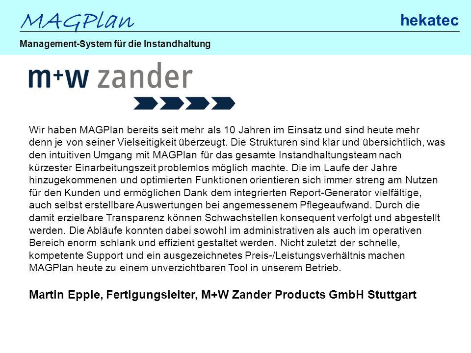 Martin Epple, Fertigungsleiter, M+W Zander Products GmbH Stuttgart