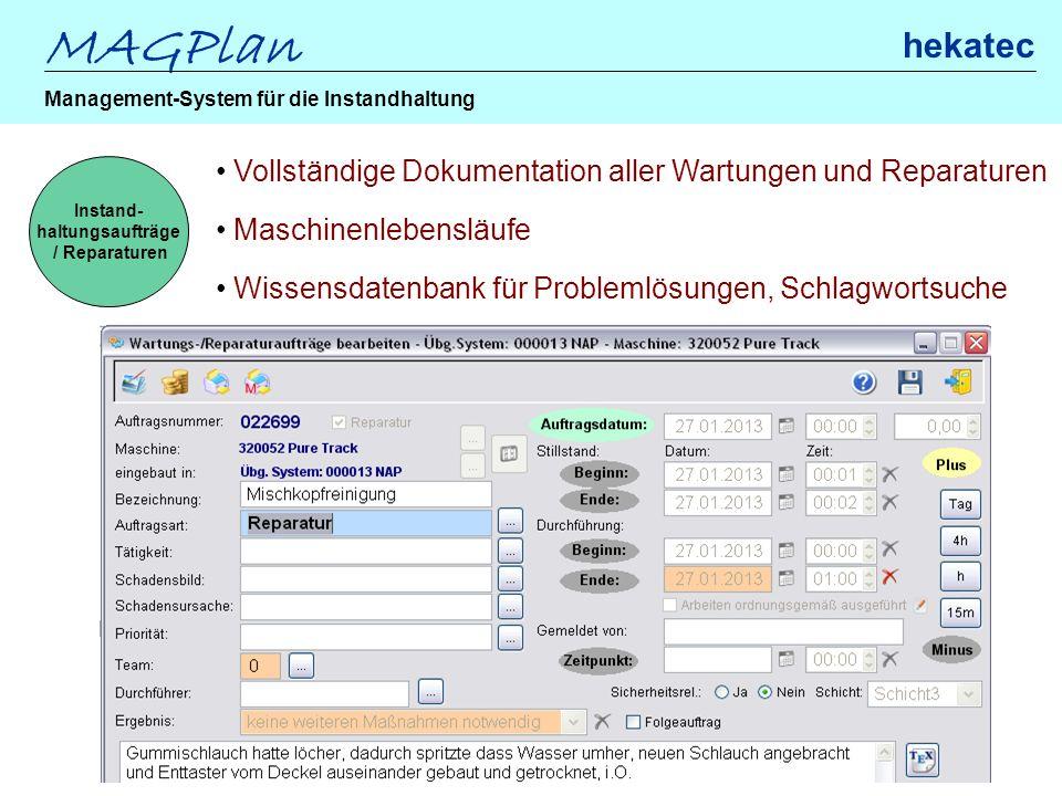 Instand- haltungsaufträge / Reparaturen