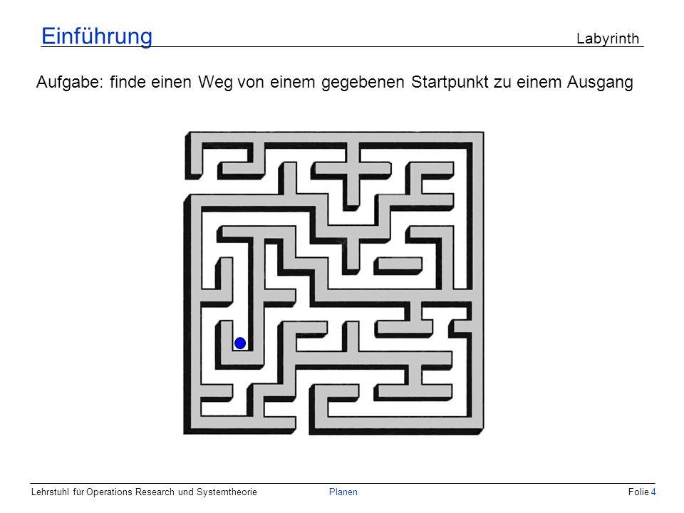 Einführung Labyrinth Aufgabe: finde einen Weg von einem gegebenen Startpunkt zu einem Ausgang.