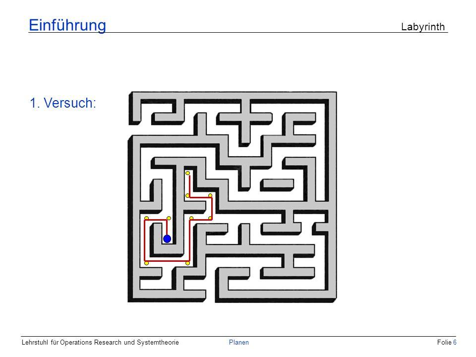 Einführung Labyrinth 1. Versuch: