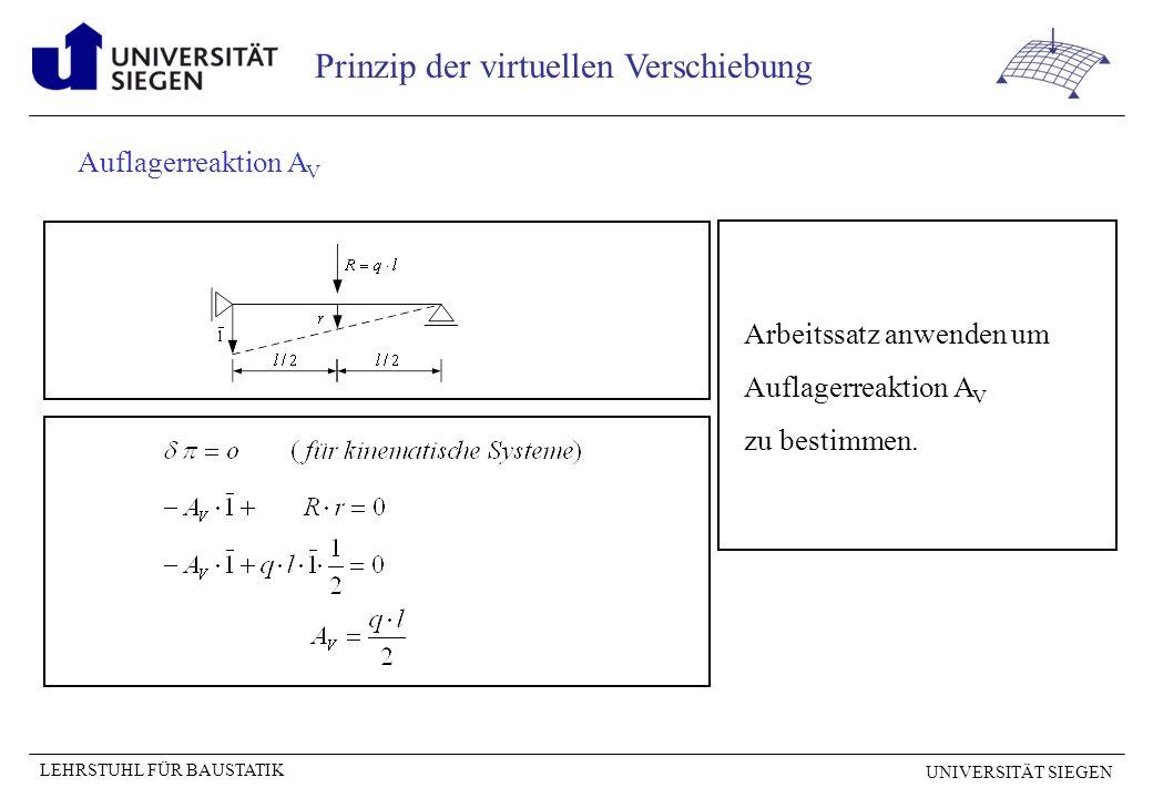 Auflagerreaktion AV Arbeitssatz anwenden um Auflagerreaktion AV zu bestimmen.