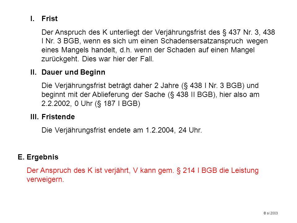Die Verjährungsfrist endete am 1.2.2004, 24 Uhr.
