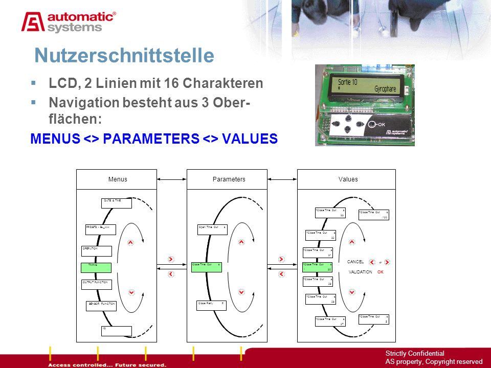 Nutzerschnittstelle LCD, 2 Linien mit 16 Charakteren
