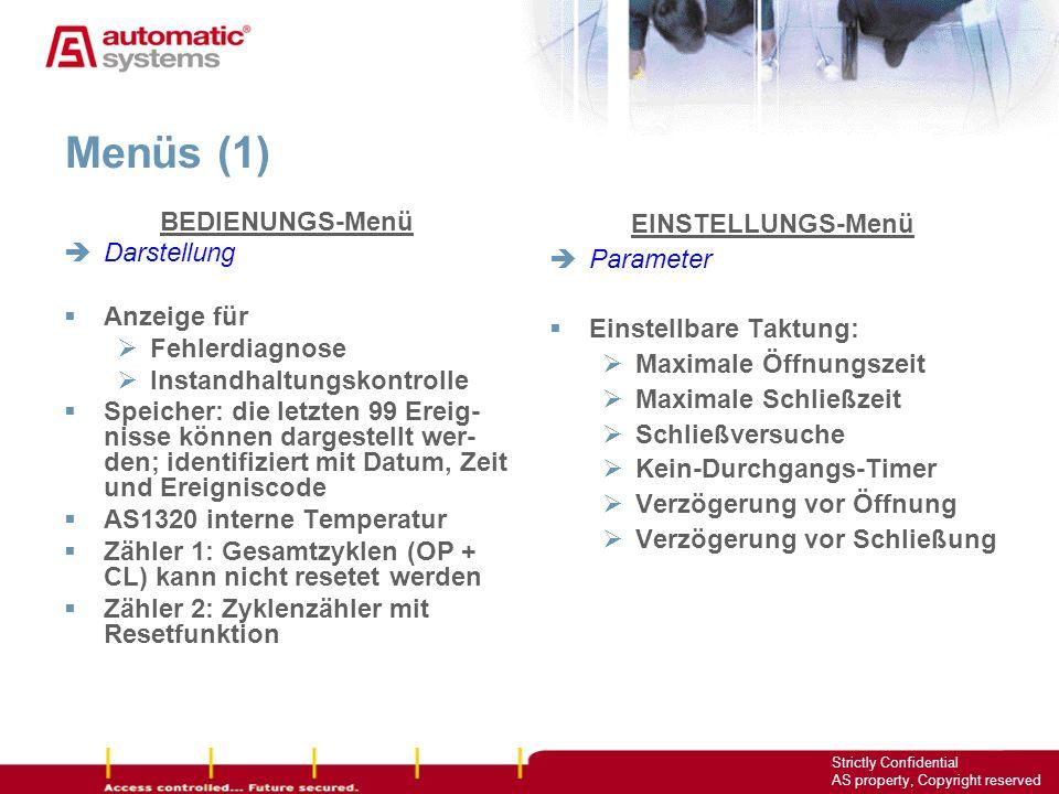 Menüs (1) BEDIENUNGS-Menü Darstellung Anzeige für Fehlerdiagnose