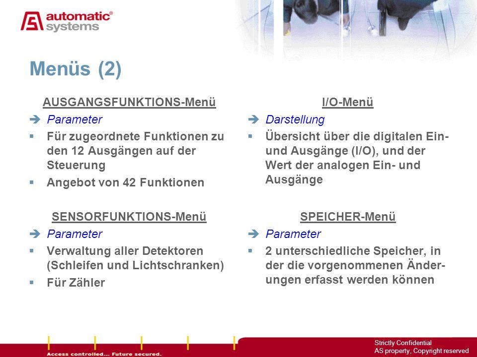 AUSGANGSFUNKTIONS-Menü SENSORFUNKTIONS-Menü