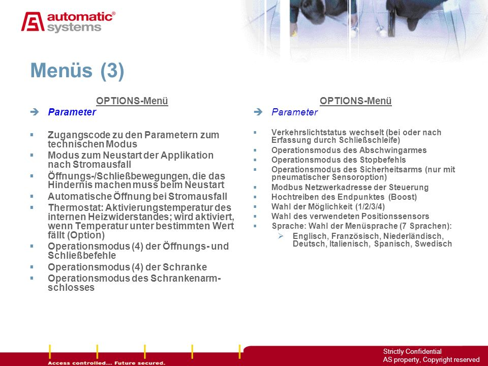 Menüs (3) OPTIONS-Menü Parameter