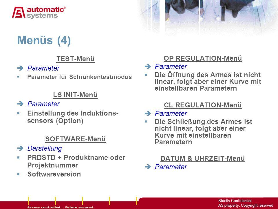 Menüs (4) TEST-Menü Parameter LS INIT-Menü