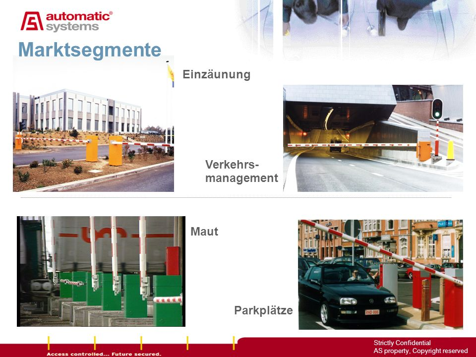 Marktsegmente Einzäunung Verkehrs- management Maut Parkplätze