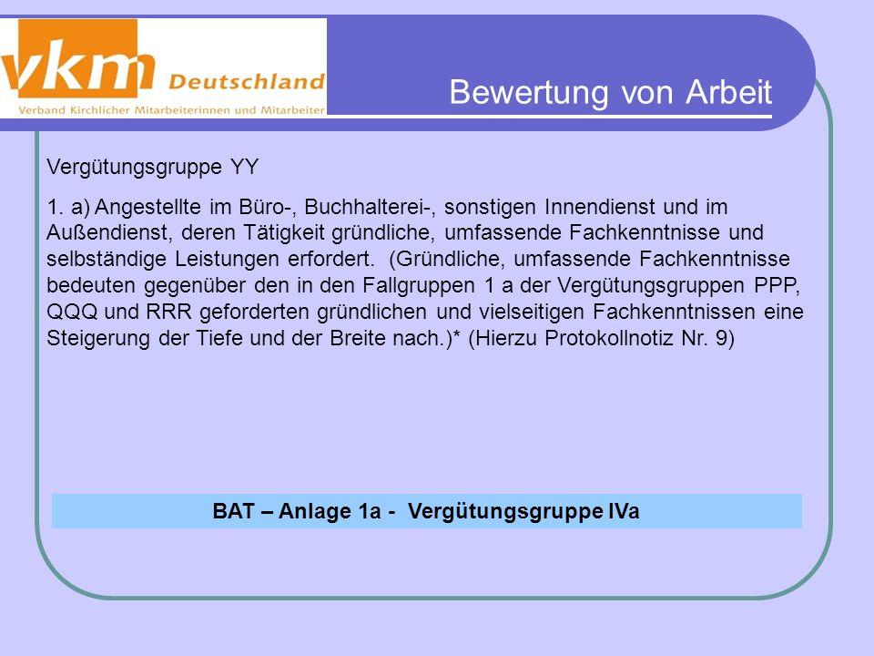 BAT – Anlage 1a - Vergütungsgruppe IVa