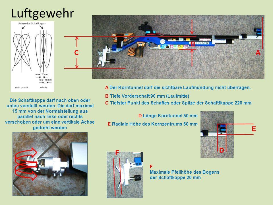 Luftgewehr B. C. A. A Der Korntunnel darf die sichtbare Laufmündung nicht überragen. B Tiefe Vorderschaft 90 mm (Laufmitte)