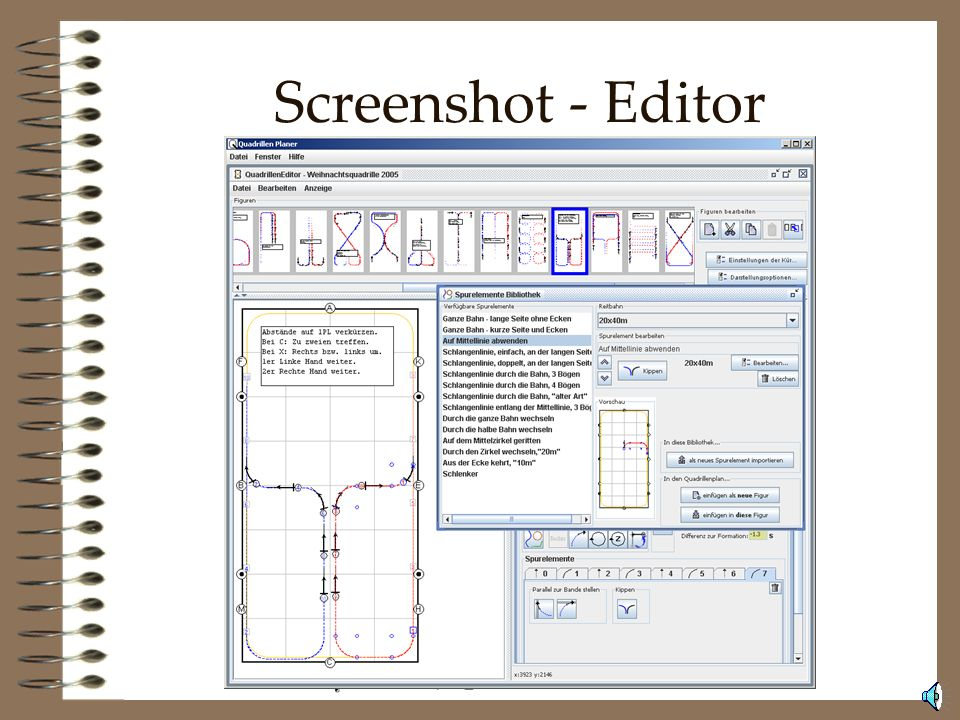 Screenshot - Editor So sieht der QuadrillenPlaner, der funktional bereits weitgehend abgeschlossen ist, aus.