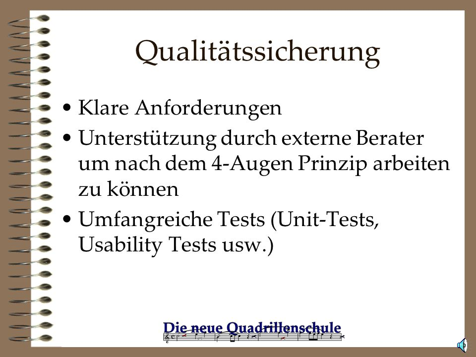 Qualitätssicherung Klare Anforderungen