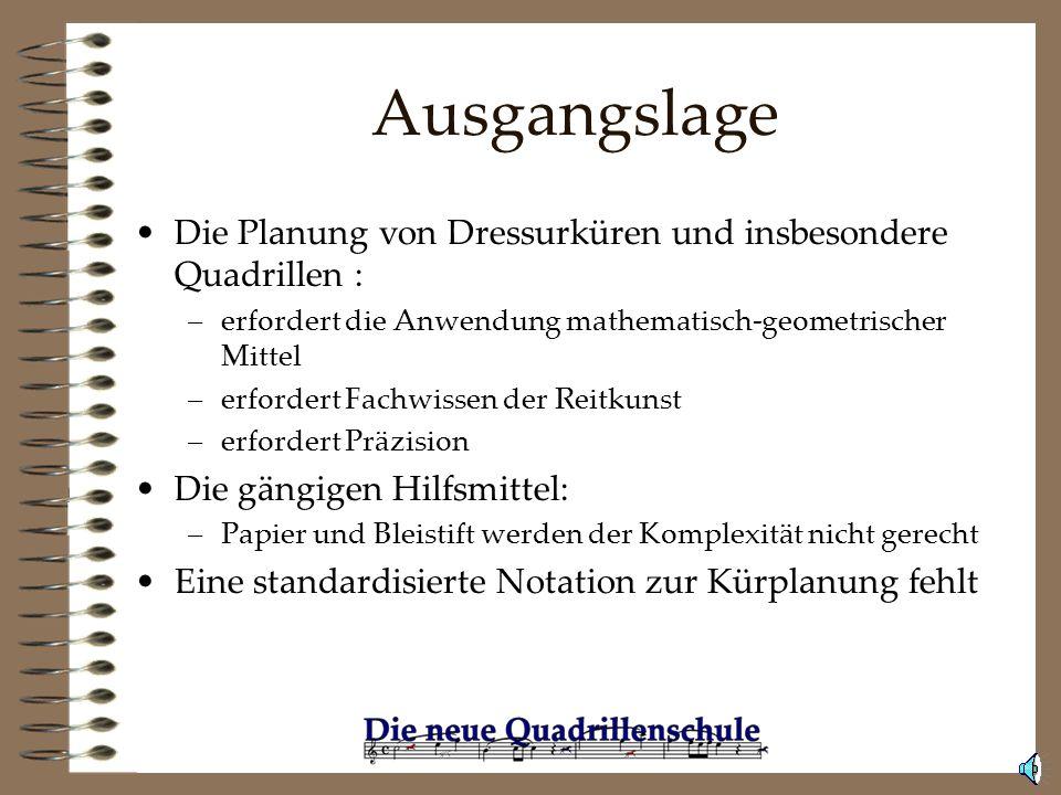 Ausgangslage Die Planung von Dressurküren und insbesondere Quadrillen : erfordert die Anwendung mathematisch-geometrischer Mittel.