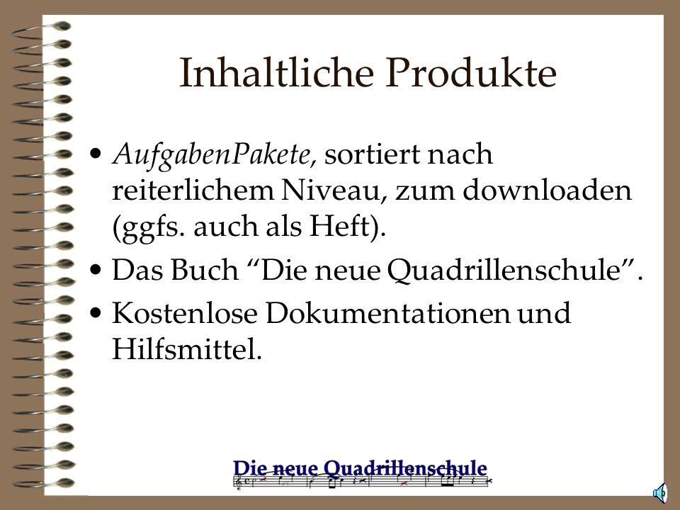 Inhaltliche Produkte AufgabenPakete, sortiert nach reiterlichem Niveau, zum downloaden (ggfs. auch als Heft).