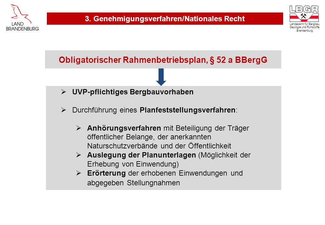 Obligatorischer Rahmenbetriebsplan, § 52 a BBergG