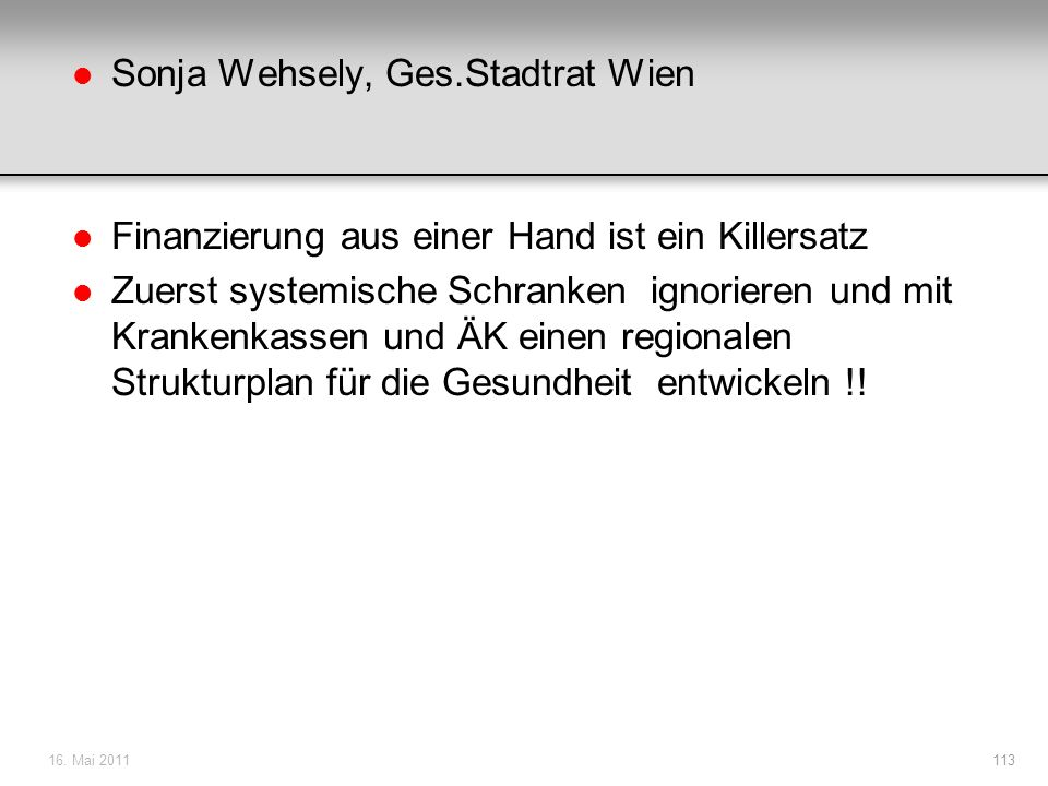 Sonja Wehsely, Ges.Stadtrat Wien