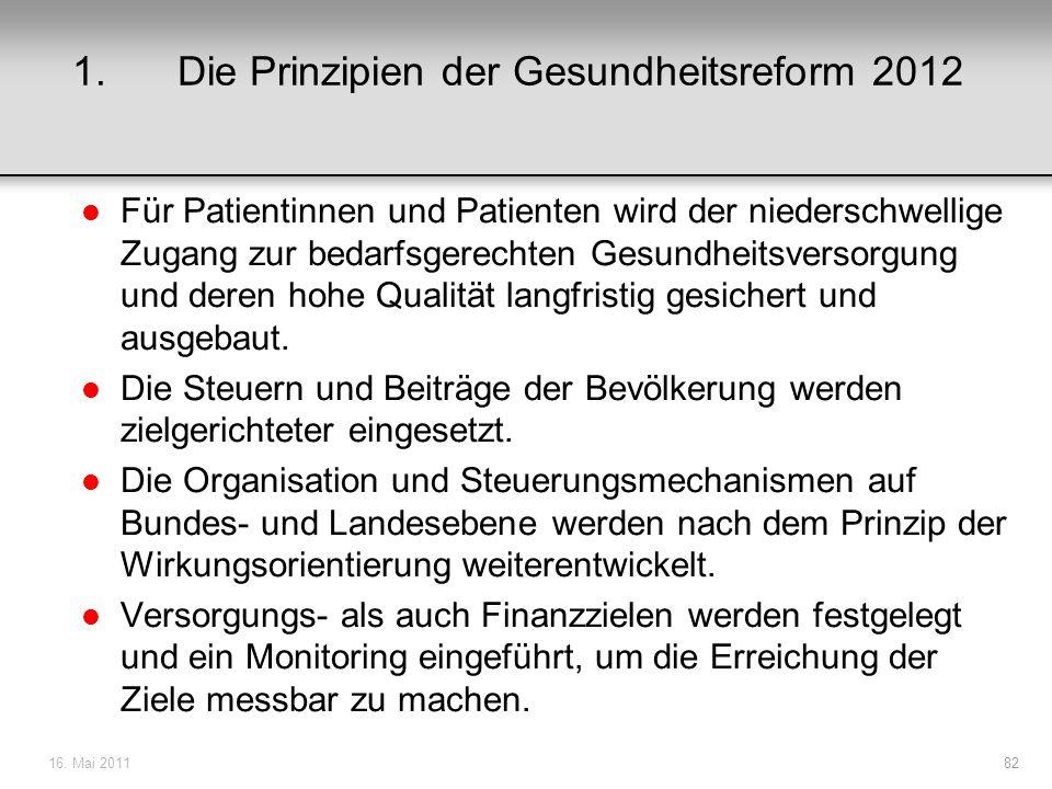 1. Die Prinzipien der Gesundheitsreform 2012