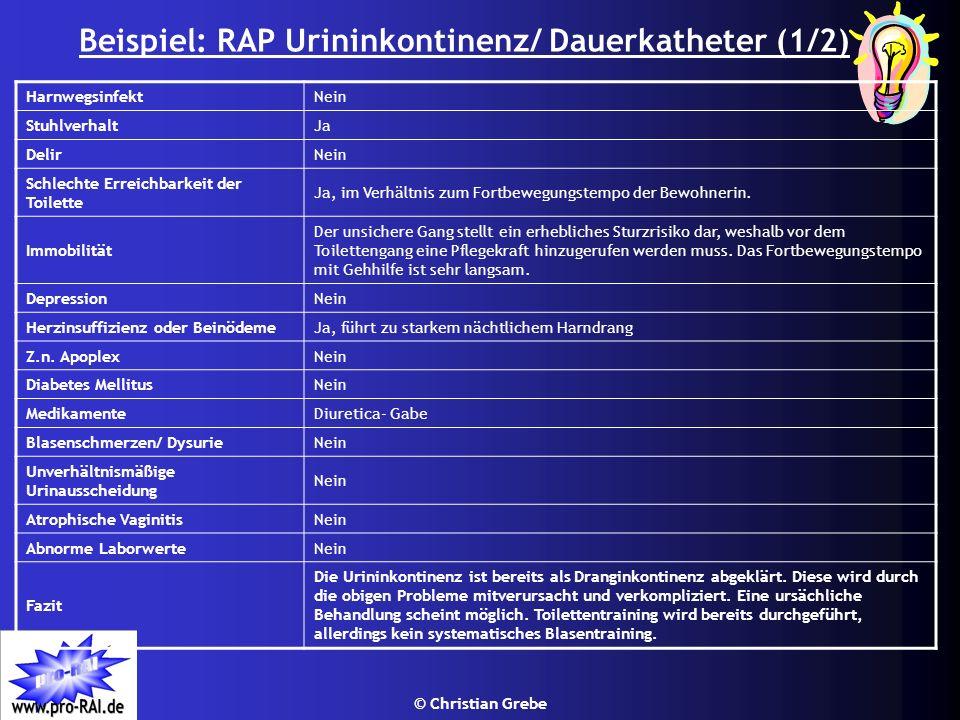 Beispiel: RAP Urininkontinenz/ Dauerkatheter (1/2)