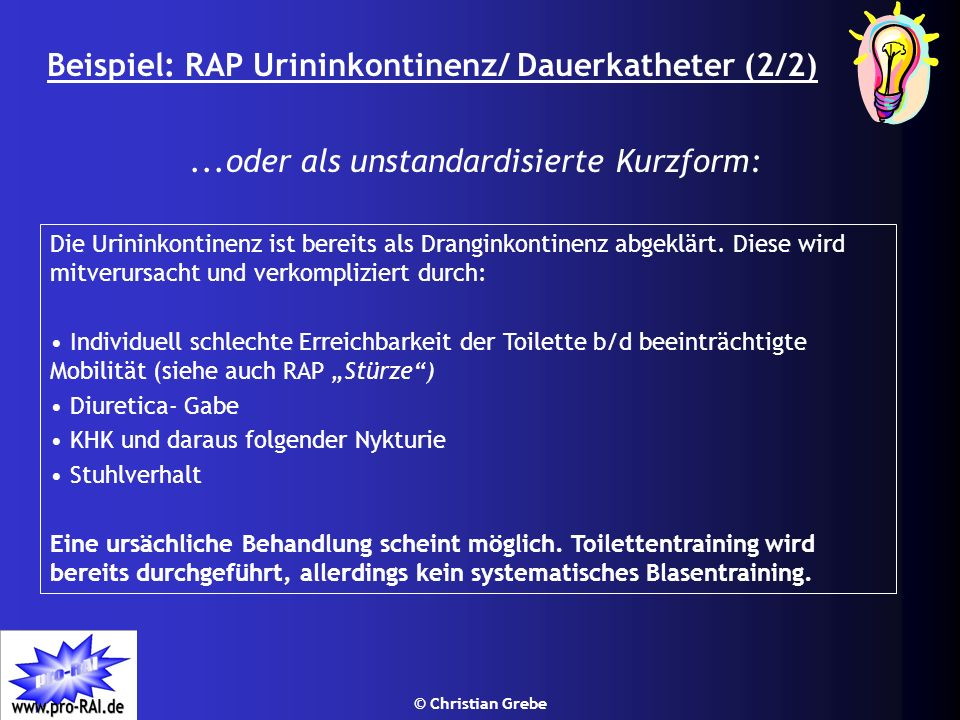 Beispiel: RAP Urininkontinenz/ Dauerkatheter (2/2)