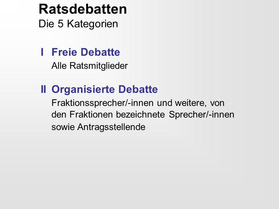 Ratsdebatten Die 5 Kategorien I Freie Debatte Alle Ratsmitglieder