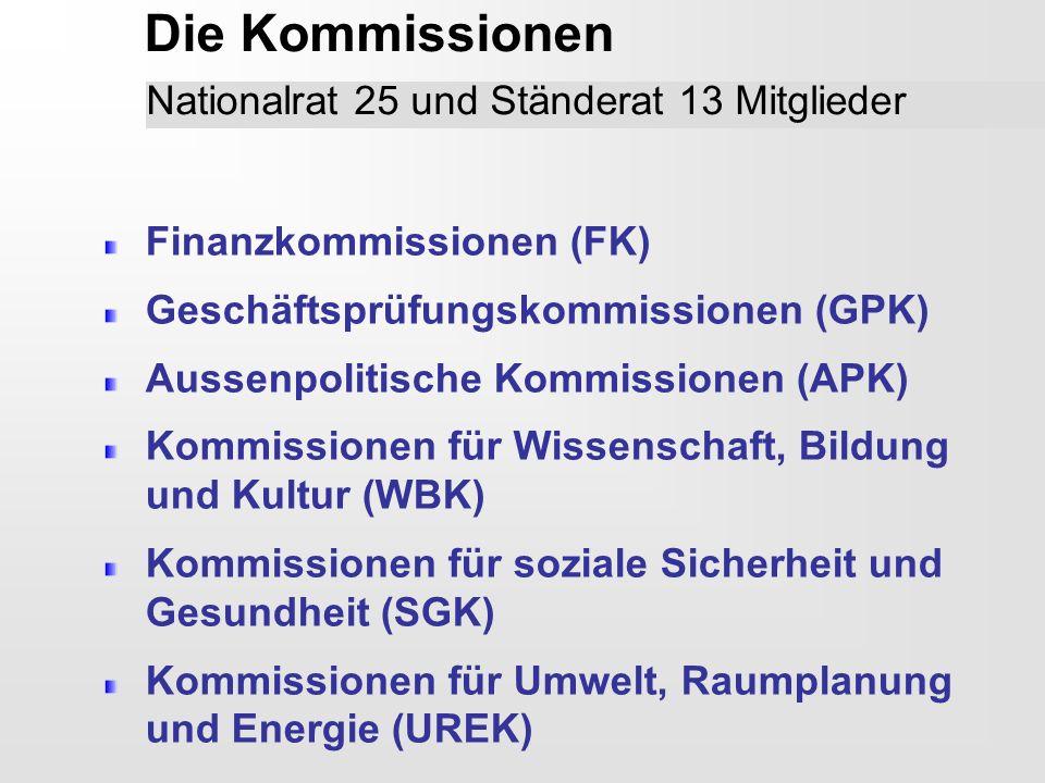 Die Kommissionen Nationalrat 25 und Ständerat 13 Mitglieder