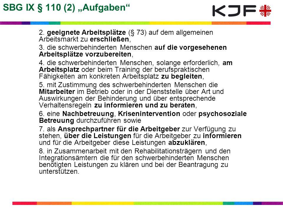 """SBG IX § 110 (2) """"Aufgaben 2. geeignete Arbeitsplätze (§ 73) auf dem allgemeinen Arbeitsmarkt zu erschließen,"""
