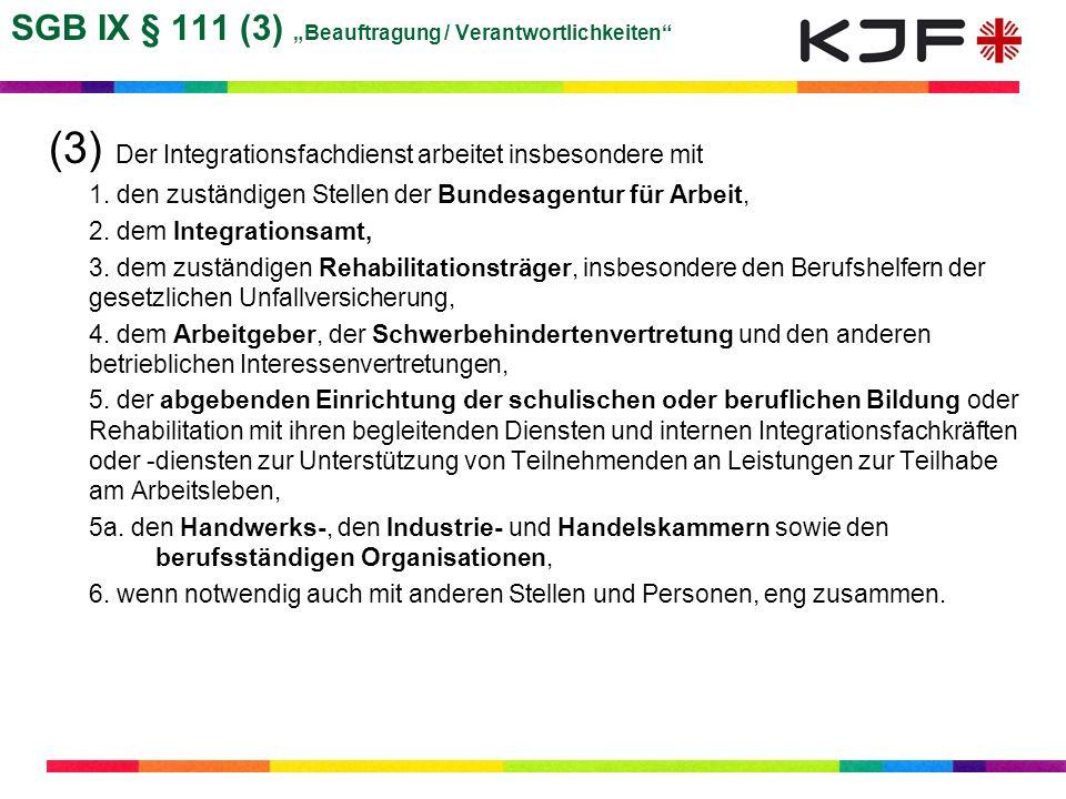 """SGB IX § 111 (3) """"Beauftragung / Verantwortlichkeiten"""