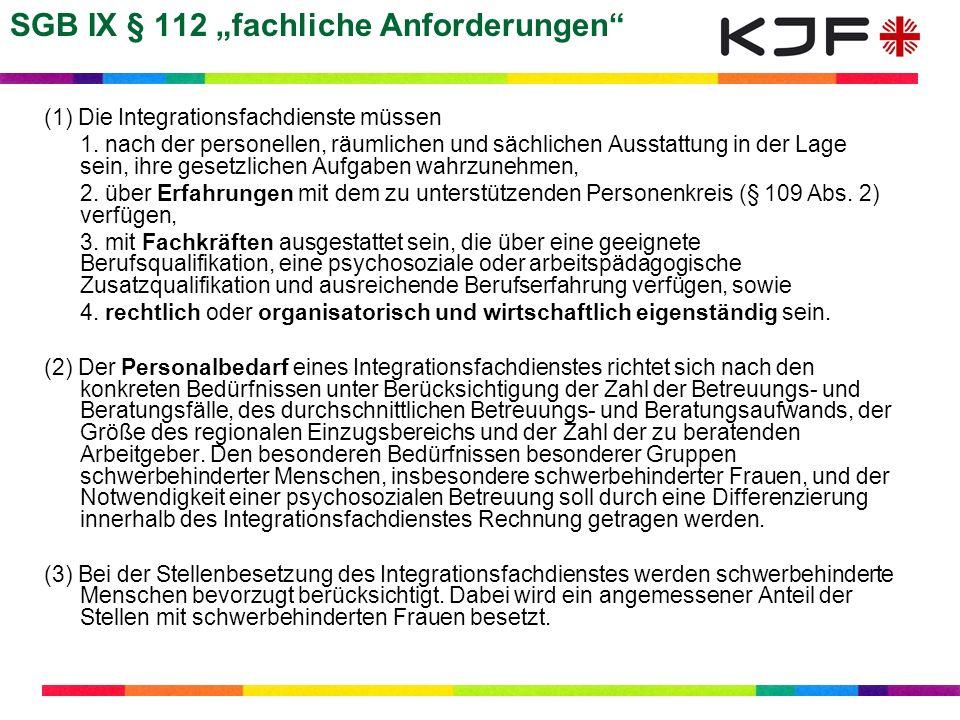 """SGB IX § 112 """"fachliche Anforderungen"""