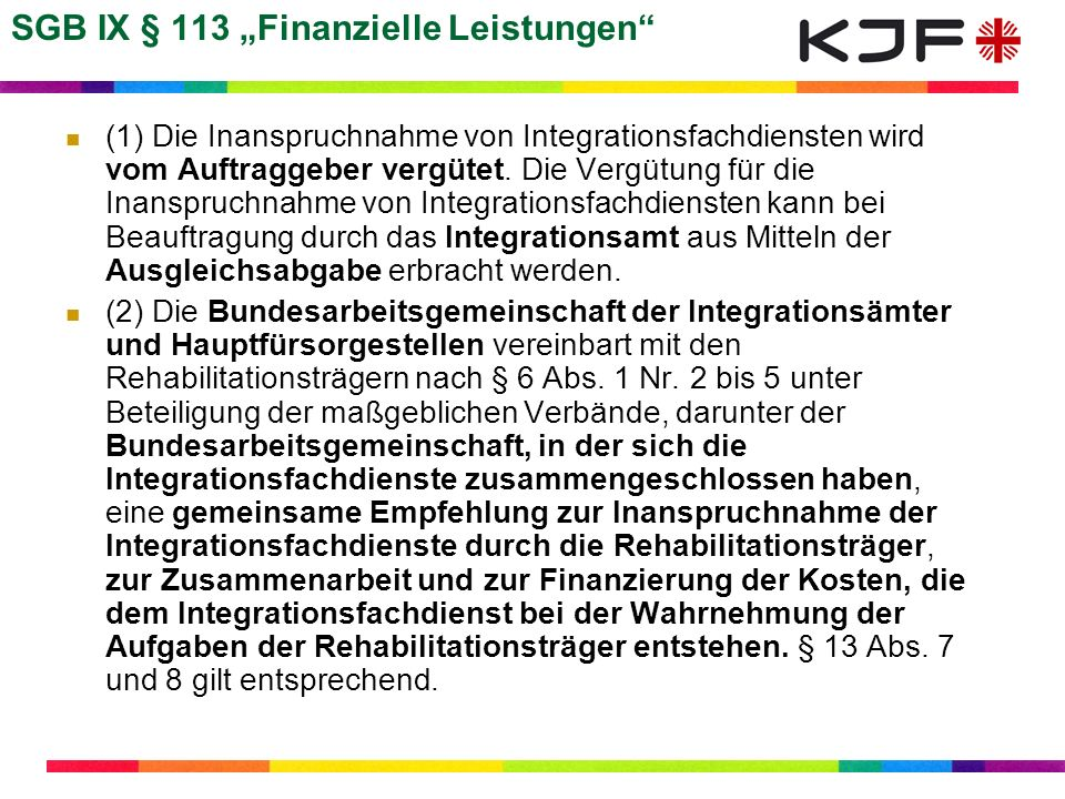 """SGB IX § 113 """"Finanzielle Leistungen"""