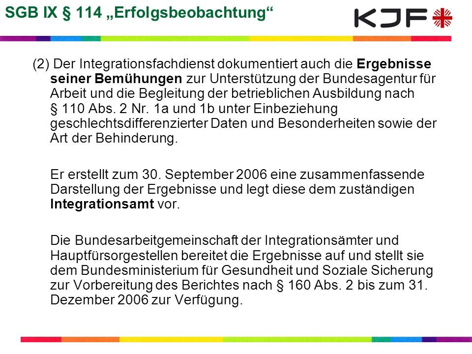 "SGB IX § 114 ""Erfolgsbeobachtung"