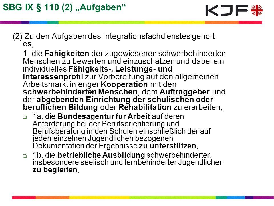"""SBG IX § 110 (2) """"Aufgaben (2) Zu den Aufgaben des Integrationsfachdienstes gehört es,"""